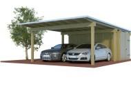 Quadro Design Doppelcarport aus Holz mit Abstellraum  online mit Preis berechnet