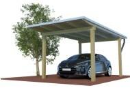 QUADRO Design Einzelcarport aus Holz mit Preis kalkuliert