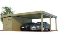 Multi Doppelcarport aus Holz mit seitlichem Abstellraum  online mit Preis berechnet