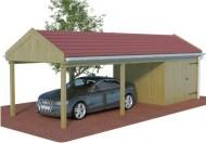 Multi Satteldach Carport aus Holz mit Abstellraum online mit Preis berechnet