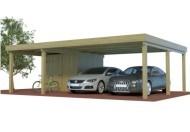 Quadro Doppelcarport aus Holz mit halben Abstellraum online mit Preis berechnet