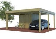 Multi Carport aus Holz mit halben seitlichem Abstellraum online mit Preis berechnet