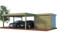 Mutli Doppelcarport aus Holz mit Abstellraum als Winkelbau online mit Preis berechnet
