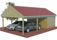 Multi Satteldach Doppelcarport aus Holz mit Abstellraum  online mit Preis berechnet