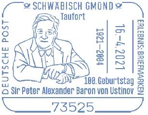 Sonderstempel 100. Geburtstag Sir Peter Alexander Baron von Ustinov