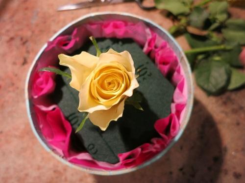 Der Anfang: Eine Rose in der Mitte stecken.