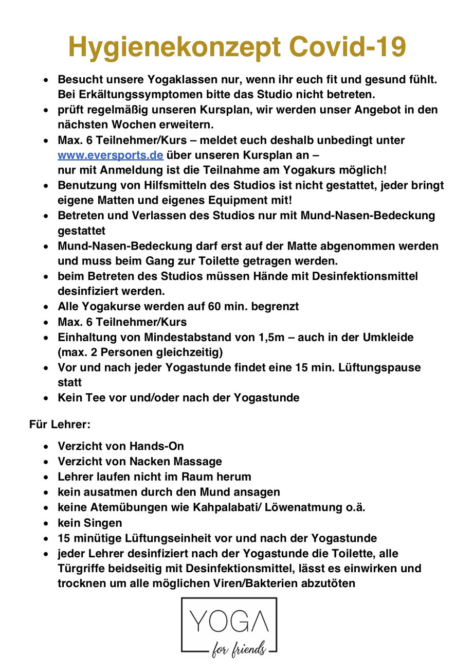 Hygienekonzept Yogastudio München
