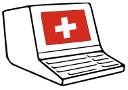 Konsole mit Bildschirm und Tastatur in einem Gehäuse