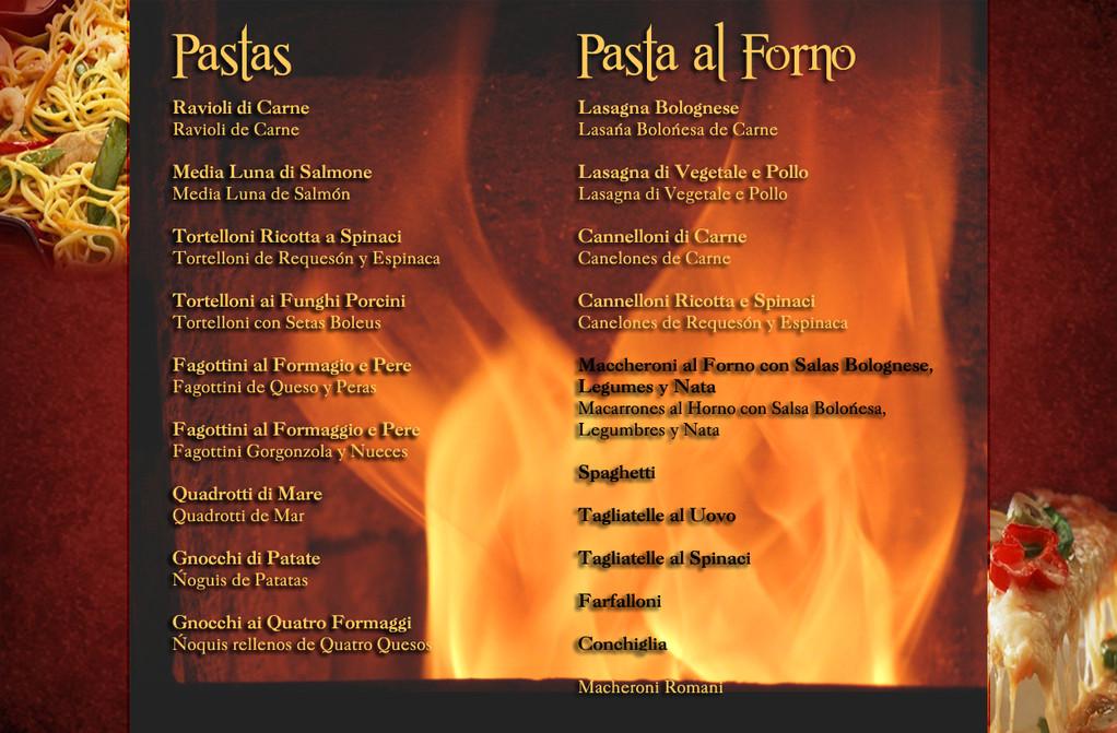 Carta del Restaurante Pizzeria El Italiano de Benidorm