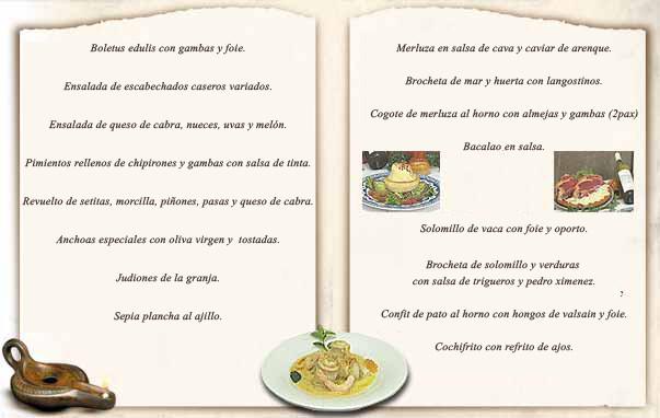 Carta del Restaurante La Oficina