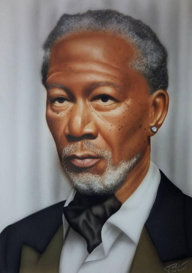 Portrait Morgan Freeman - Airbrush