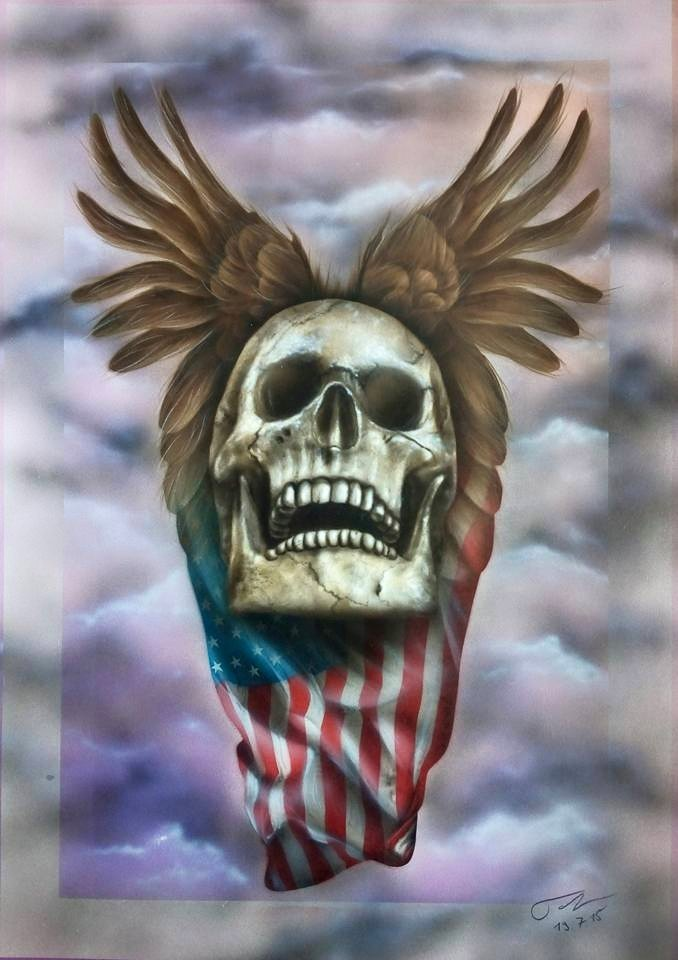 Flying Skull auf Papier - Airbrush