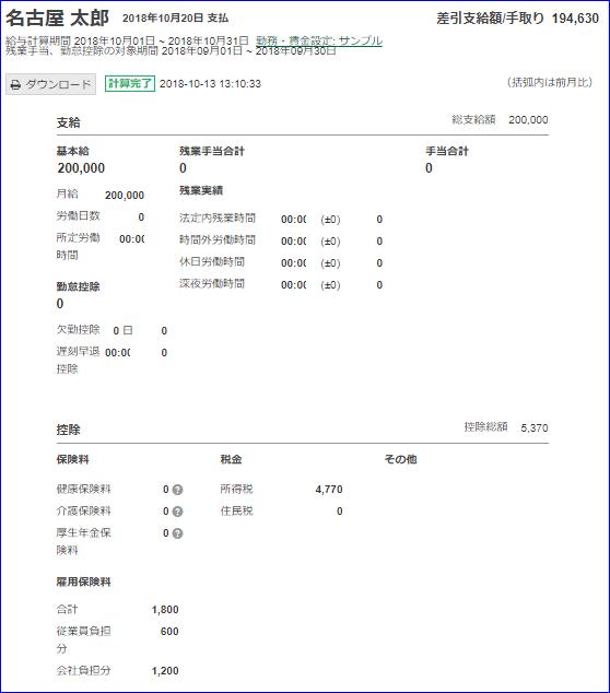 給与明細画面(サンプル)
