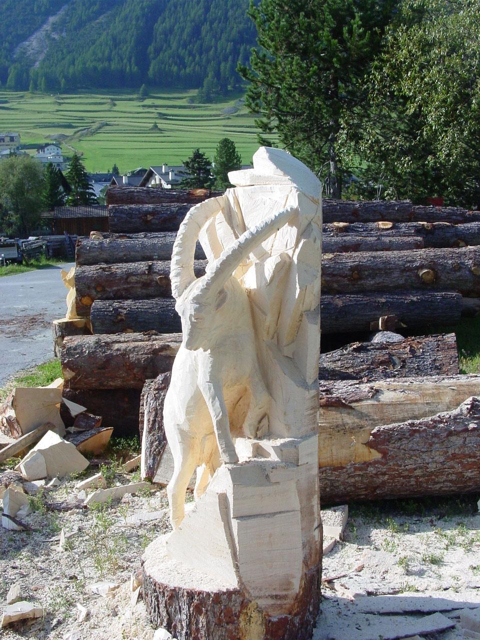 Steinbock Holzskultpur