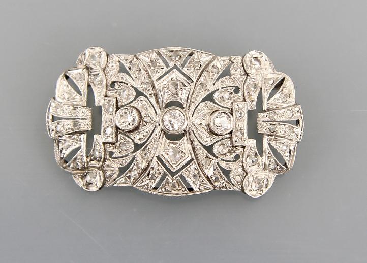Art-Deco Brosche Weissgold mit Diamanten