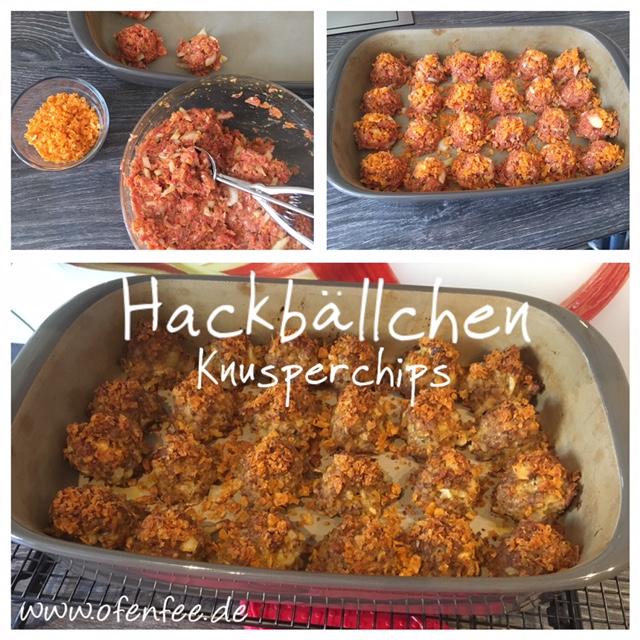 Hackbällchen Knusperchips mit Kartoffelchips in der Ofenhexe von Pampered Chef