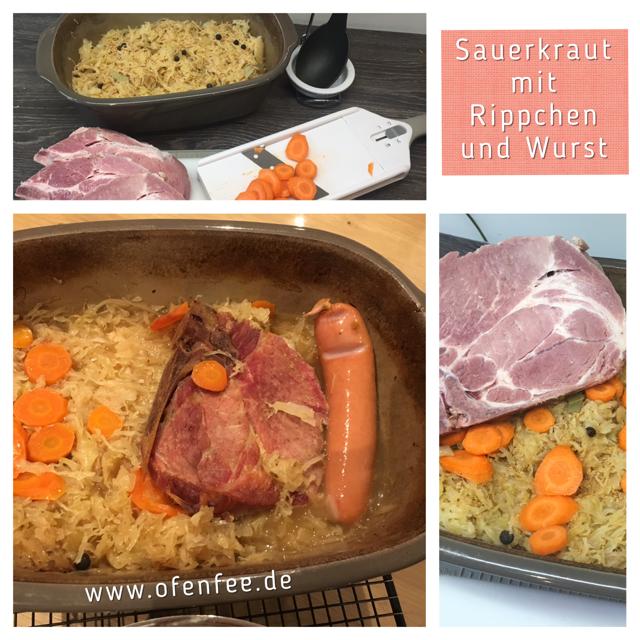Sauerkraut und Rippchen mit Bockwurst im Ofenmeister von Pampered Chef