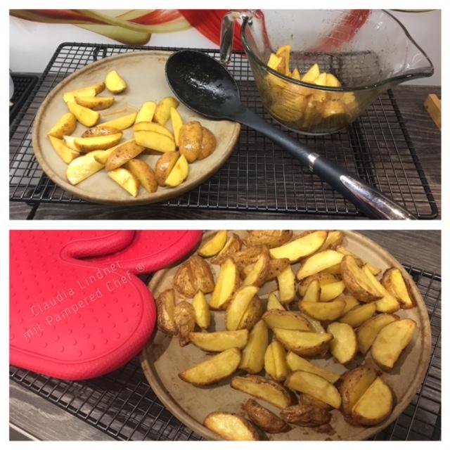 Paprika Kartoffelecken - ganz einfach- auf dem Zauberstein von Pampered Chef
