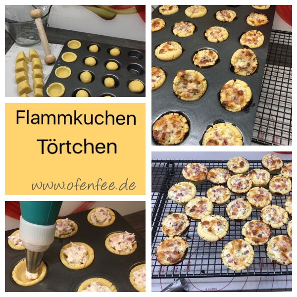 Flammkuchen Törtchen gebacken in der Mini Muffinform von Pampered Chef