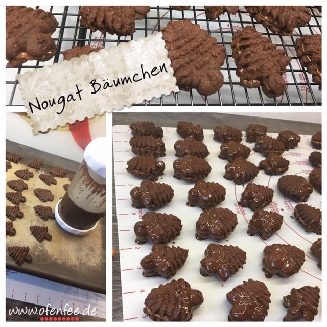 Nougat Bäumchen aus der Gebäckpresse von Pampered Chef gebacken auf dem Zauberstein von Pampered Chef