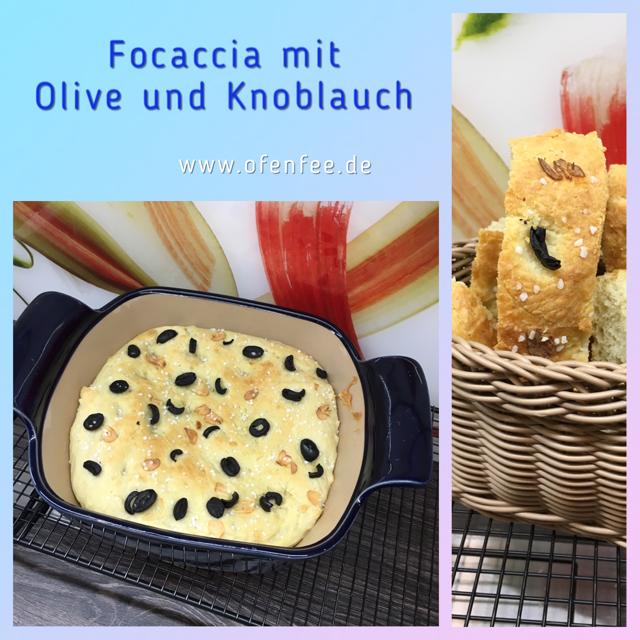 Focaccia mit Olive und Knoblauch im Bäker von Pampered Chef