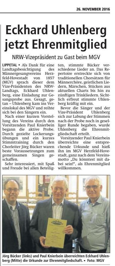 Bericht Soester Anzeiger vom 26.11.2016