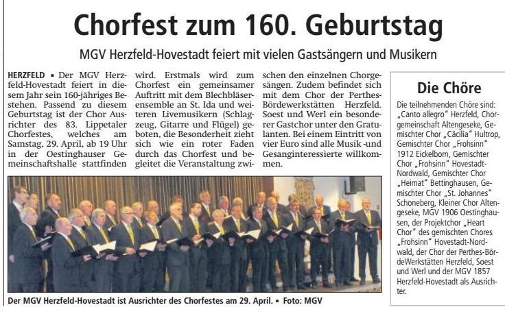 Bericht Soester Anzeiger vom 15.04.2017