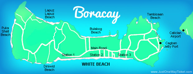 Map of Boracay, Philippines. 2013 © Sabrina Iovino | JustOneWayTicket.com