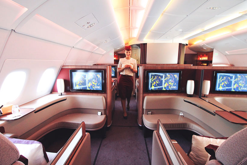 First Class Cabin | Review: Qatar Airways Business Class A380 Doha to Atlanta Inaugural Flight | via @Just1WayTicket