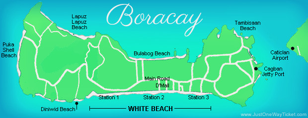 Map of Boracay, Philippines. 2014 © Sabrina Iovino | JustOneWayTicket.com