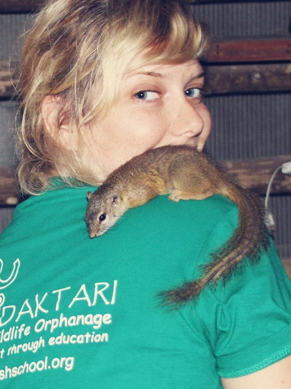 My favorite animal: The squirrel that was brave enough to jump on my shoulder | Volunteering with Wildlife and Children in South Africa - My Enriching Experience | via @Just1WayTicket