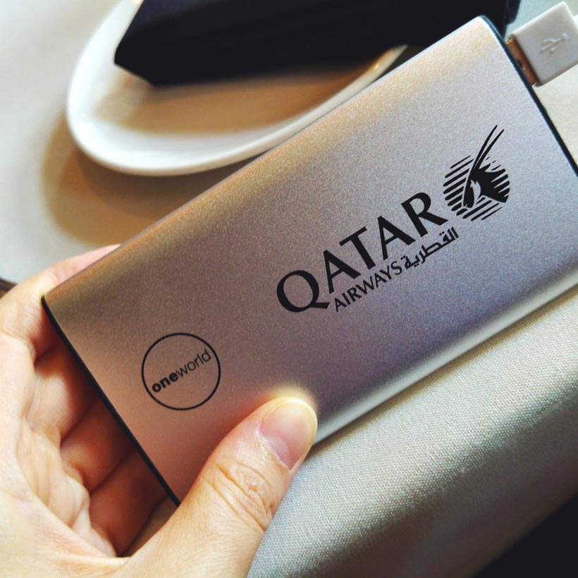 Free Powerbank | Review: Qatar Airways Business Class A380 Doha to Atlanta Inaugural Flight | via @Just1WayTicket