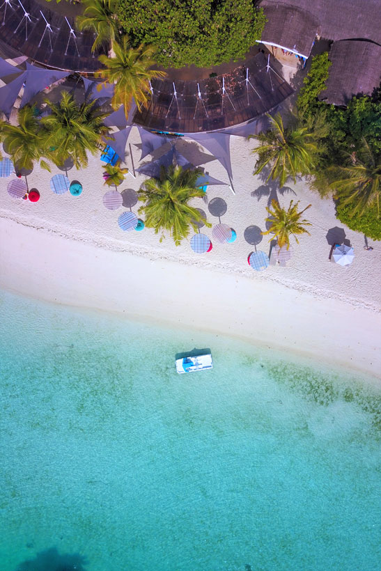 Drone shot of Lux* Resort 5 Star - South Ari Atoll Maldives - A Paradise for Instagrammers | Hotel Review by JustOneWayTicket