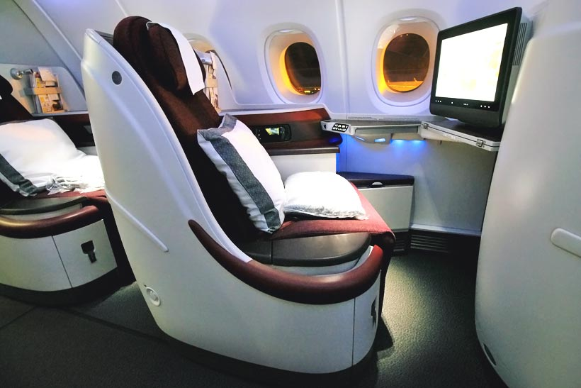 Business Class Seat | Review: Qatar Airways Business Class A380 Doha to Atlanta Inaugural Flight | via @Just1WayTicket