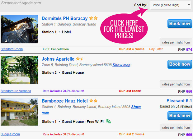 Agoda Screenshot - How to find the cheapest Hotels in Boracay | JustOneWayTicket.com