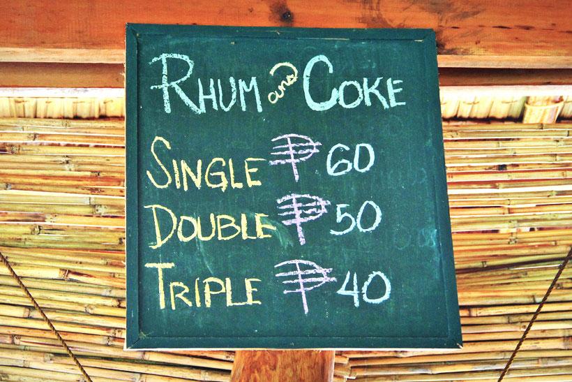 Travel Philippines | Rum is cheaper than Coke in the Philippines! Photo taken at Kermit Resort in Siargao. Philippines © Sabrina Iovino | via @Just1WayTicket