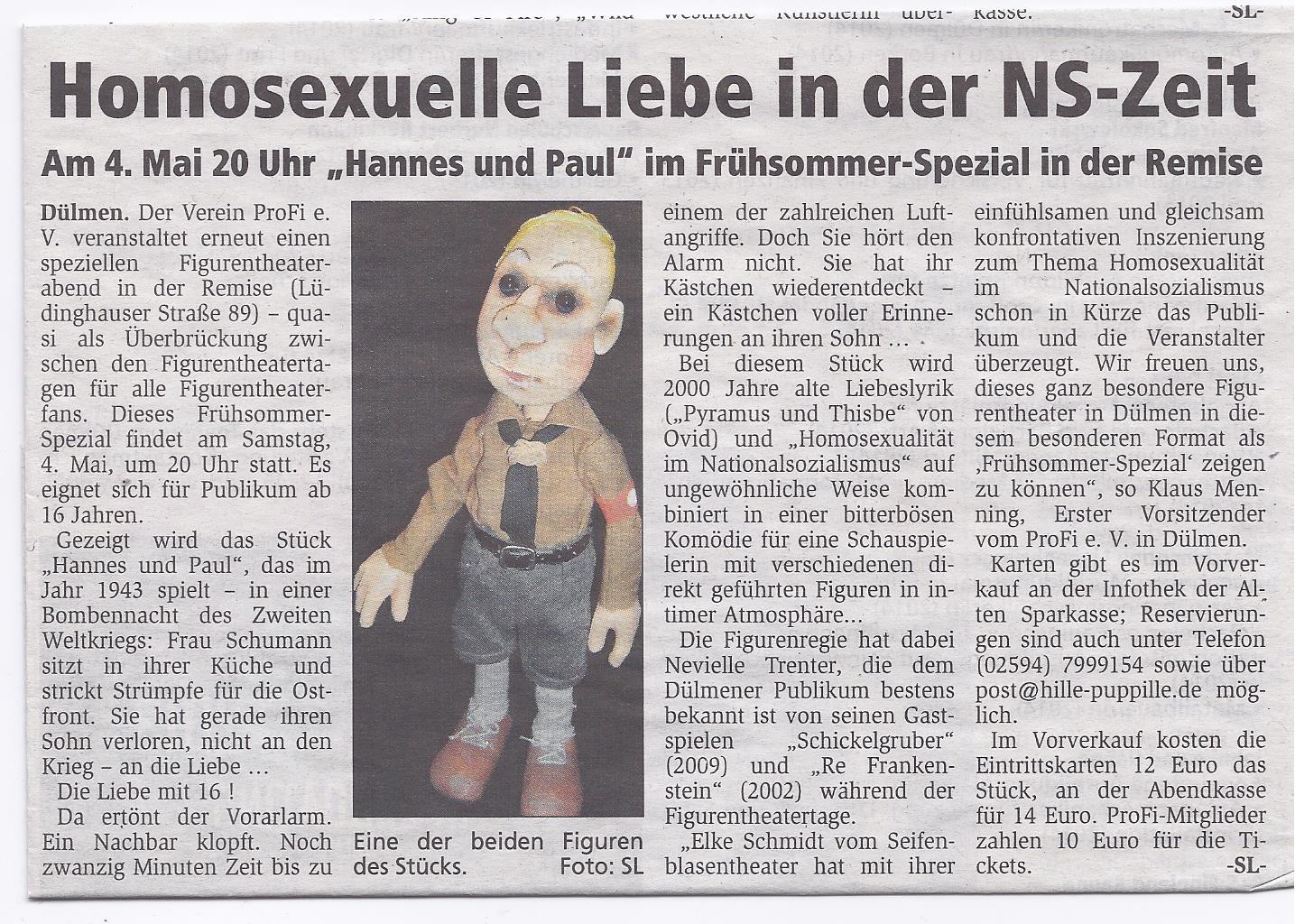 """Das Seifenblasen-Theater aus Meerbusch mit  """"Hannes und Paul"""""""