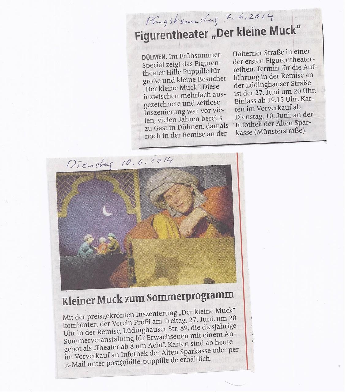 """Theater 1 aus Bad Münstereifel mit dem Stück """"Der kleine Muck"""""""