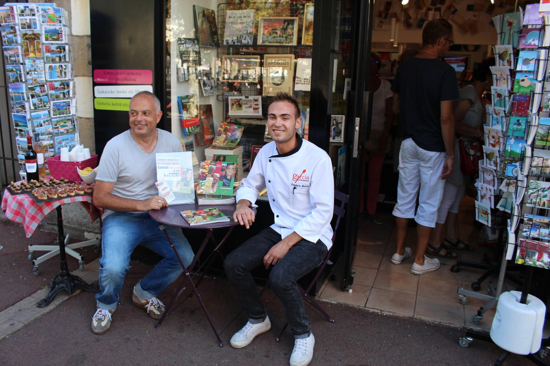 Avec Eric Soreau, patron de la librairie Louis XIV à Saint Jean de Luz