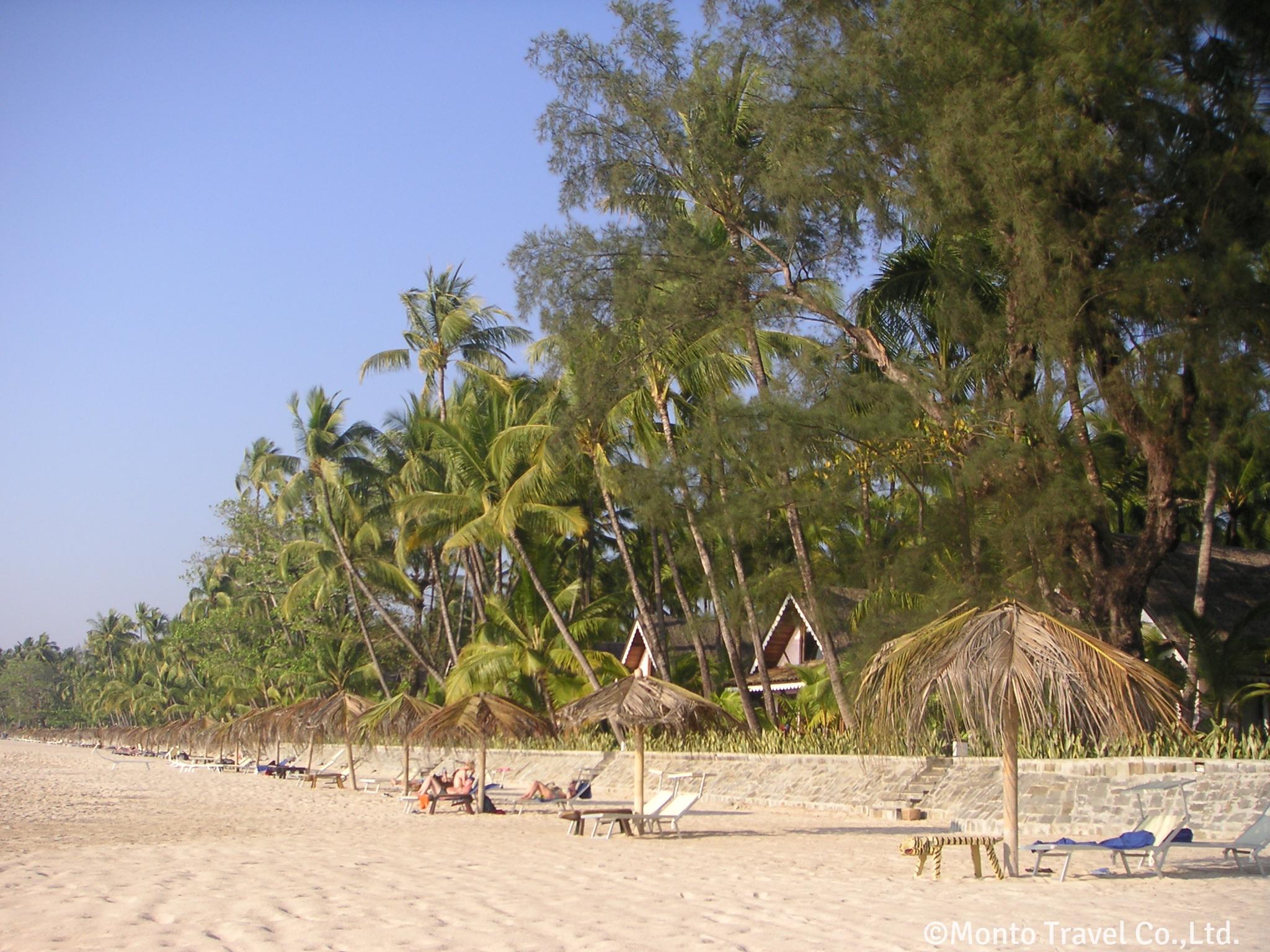 白い砂浜とヤシの木が美しいガパリビーチ