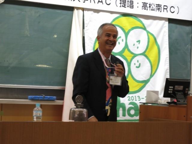 提唱クラブ高松南RCのマスウド・ソバハニ会長挨拶