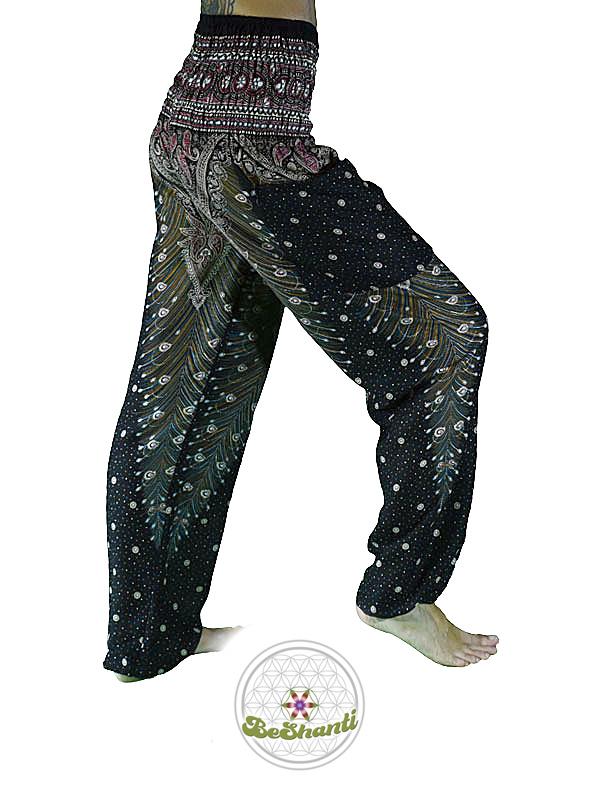 Haremshose, Yogahose, Pluderhose für Damen, mit Paisley- und Pfauenfeder Muster, schwarz, Fairtrade