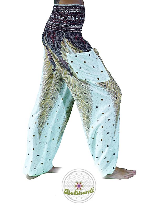 Haremshose, Yogahose, Pluderhose (Pfauenfeder Muster, weiß, Fairtrade)