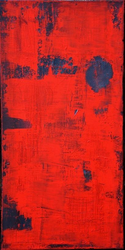 """""""En matière de rouge"""" Elgi loun - acrylique sur toile - 50x100x3"""
