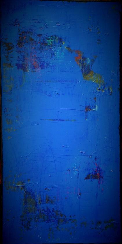 """En matière de bleu"" Elgi loun - acrylique sur toile - 50x100x3"