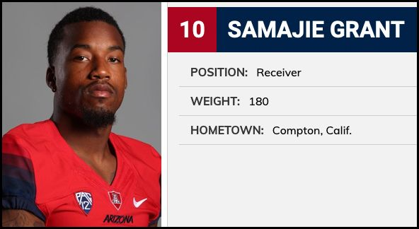 Samajie Grant listed as a WR on the Arizona Wildcats website