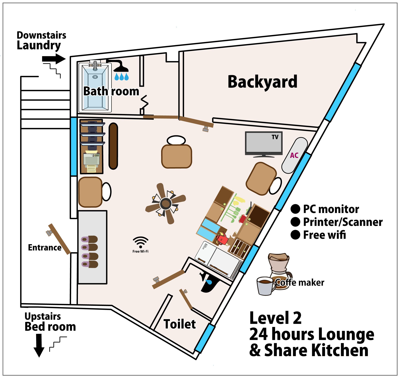五島、ゲストハウス、2階、シェアキッチン、ラウンジ