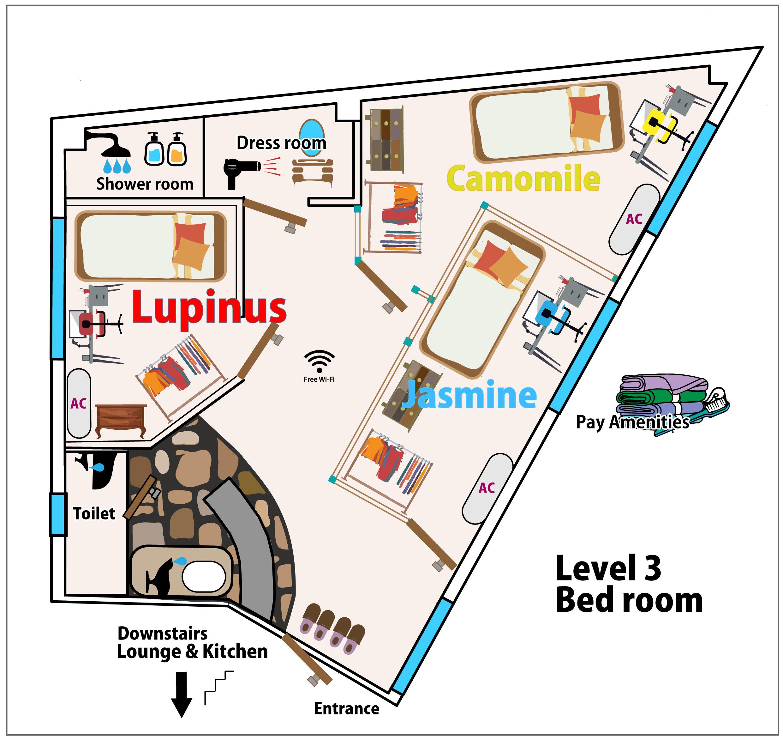 五島、ゲストハウス、カナン、3階、ベッドルーム、ドミトリー、個室、シャワールーム