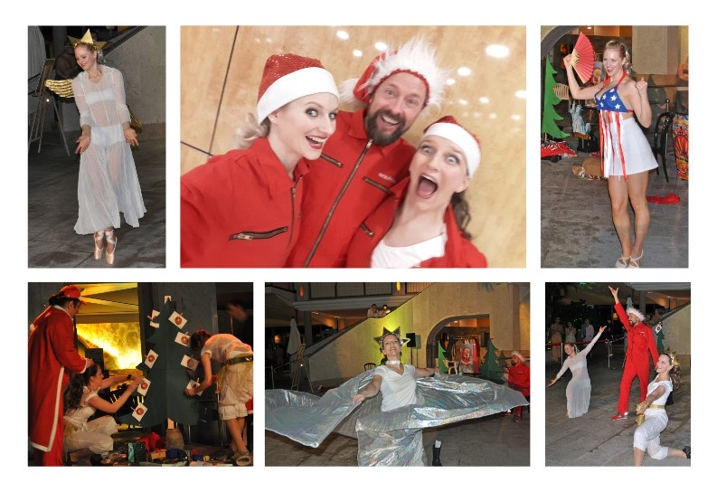 Aus dem Repertoire der Maniacdancers.: In der Therme Bad Wörishofen hat unser Weihnachtsmann sogar ein Bad genommen.