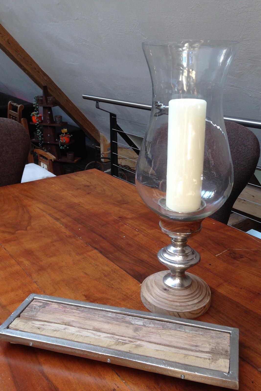 Untersetzer Holz-Metall 094413 / Kerzenglas 094418